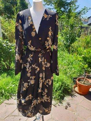 Wickelkleid Midikleid Kleid YAS Gr. M (36/38) schwarz Blumenprint Kimono