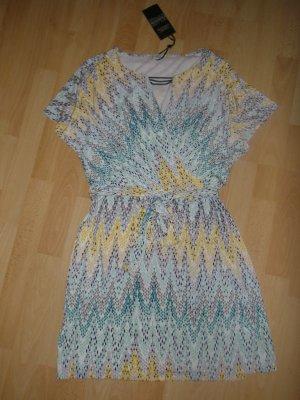 Wickelkleid - mit Allover-Print & Kettendetail - weiß/grau/gelb 36/38 Neu- OP 129,-