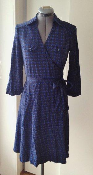 Wickelkleid mit Grafik-Muster, blau, schwarz, Esprit, S / 36