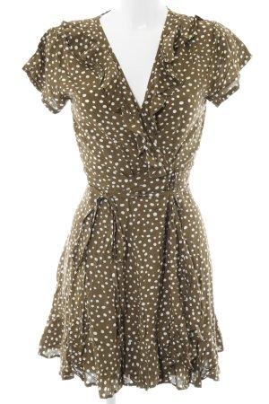 Robe portefeuille vert olive-blanc motif de tache style des années 50