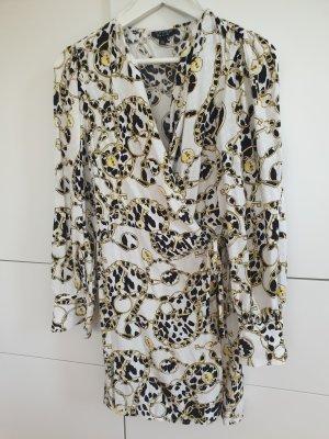 Topshop Vestido cruzado blanco-negro