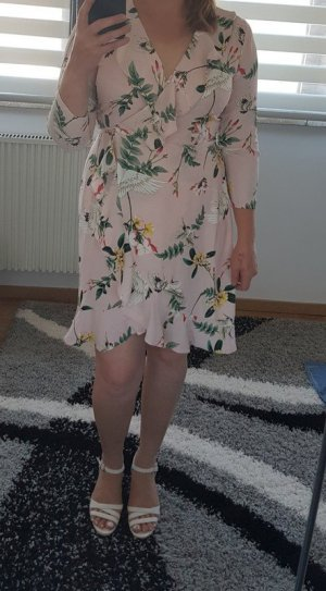 Wickelkleid YAS L (40) Neu Minikleid Printkleid Kleid Mini Blumiger Print mit Kranichen