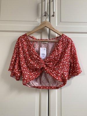 Pull & Bear Cropped Shirt brick red-white