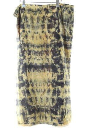 Wraparound Skirt yellow-black batik pattern beach look