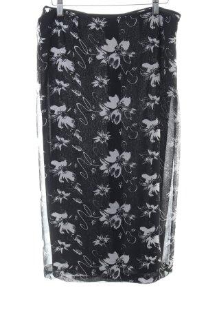 Wickelrock schwarz-hellgrau florales Muster Casual-Look