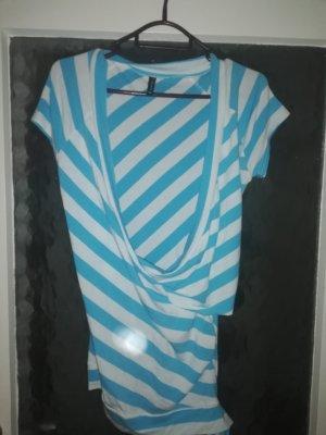 Amisu Wikkelshirt wit-lichtblauw