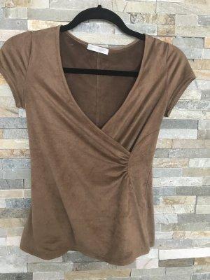 Promod Maglietta aderente marrone-grigio-color cammello