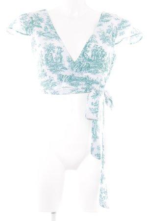 Camisa cruzada blanco-turquesa estampado abstracto Estilo playero