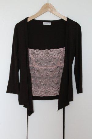 Comma Wikkelshirt zwart bruin-lichtroze Viscose