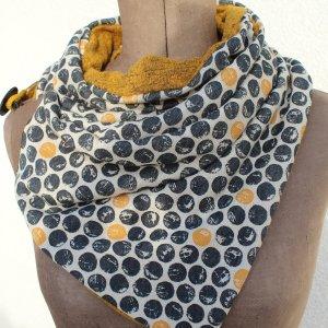 Fazzoletto da collo giallo scuro-grigio scuro Cotone