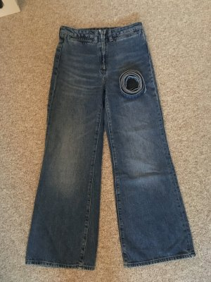 H&M Hoge taille jeans blauw-leigrijs Katoen