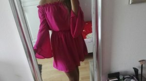 Nakd Off-The-Shoulder Dress magenta polyester