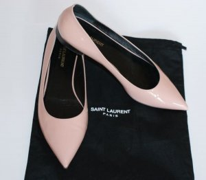wie neu!! 38,5 ● SAINT LAURENT ● Luxus Ballerinas Glossy Leder Flats in Nude Rosé