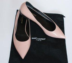 Saint Laurent Bailarinas de charol con tacón rosa empolvado Cuero