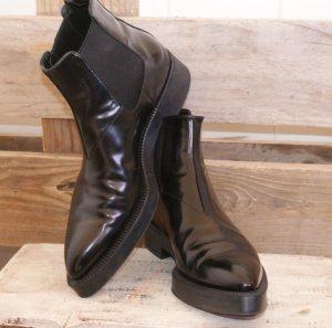 wie neu ~ 39 PRADA Luxus Stiefelette Chelsea Boots Ankle Stiefel Leder Schwarz