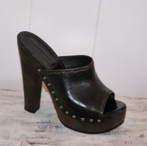 Prada Heel Pantolettes dark brown leather