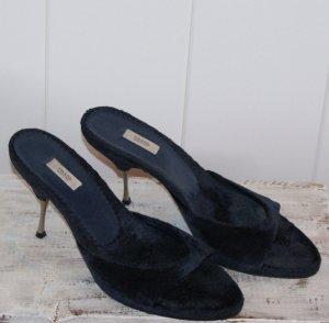 Prada Heel Pantolettes dark blue leather