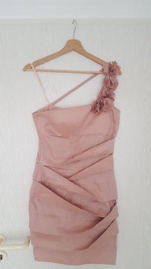 Eénschouderjurk stoffig roze-rosé