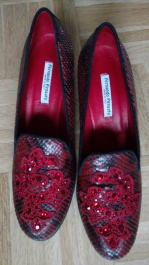 Wie neu! Aussergewöhnliche Fernando Pensato Schuhe Gr 41,5 Leder rot schwarz