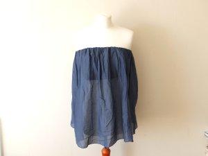 wie neu blaues Benetton Bandeau Top Gr. L 38 40 Bluse Seide transparent