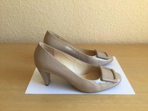 Wie neu elegante bequeme Högl Pumps Schuhe mit Absatz Lackleder beige helle
