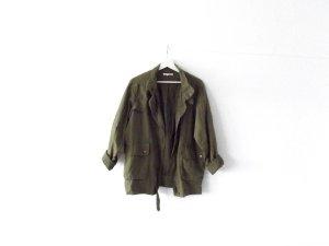 wie neu Esprit Parka Gr. 38 40 dickes leinen vintage look safari khaki oliv