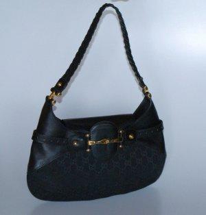 wie neu!!! GUCCI Handtasche schwarz Monogramm Canvas+Leder