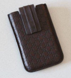 wie neu GUCCI Handyhülle IPhone4/4S Leder Monogramm Cover Smartphone Braun