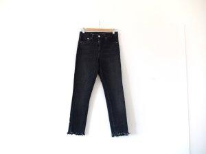 wie neu H&M Jeans Gr. 30 / 32 schwarz fransen 360° Stretch