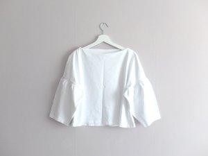 wie neu H&M Trend Bluse Shirt Gr. 40 M weiß Trompetenärmel
