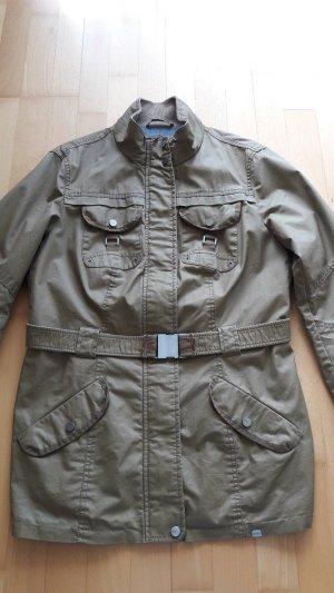 Wie neu! Jacke Übergangsjacke beschichtet Gürtel Esprit olivgrün in Gr. 44