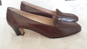 Wie Neu Luxus Salvatore Ferragomo Italy 37,5 Pumps Schuhe Braun Echt Leder