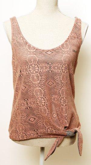 wie NEU Met Top Shirt M 38 Sommer Häkel Spitze rosa grau geblümt hippie boho