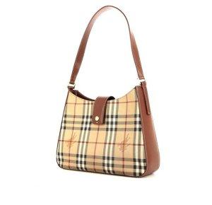 Wie neu: Original Burberry Haymarket Schultertasche Tasche Handtasche braun Leder