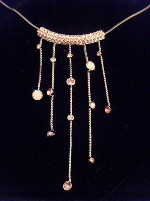 *wie NEU* Original Swarovski Kette Collier Rosa Silber V-Form Strass