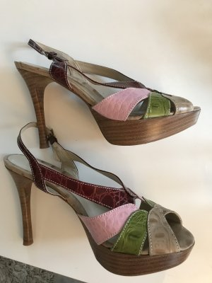 Buffalo Platform High-Heeled Sandal multicolored leather