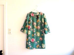 wie neu Reserved Kleid Gr. 40 grün mit Blumenmuster Trompetenärmel