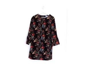 wie neu Reserved Kleid Gr. 40 schwarz mit Blumenmuster Trompetenärmel
