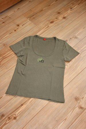 wie NEU / s.Olvier T-Shirt mit kleinem Aufdruck / Khaki / Gr. 38