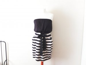 wie neu schwarz creme gestreiftes Mango Kleid Gr. L 38 40 bandeau tube