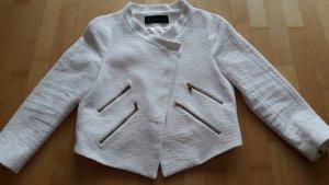 Zara Basic Biker Jacket cream cotton