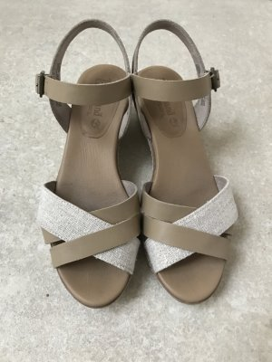 Timberland High-Heeled Sandals oatmeal-beige leather