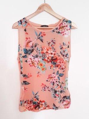 Wie NEU Top Chiffon 24 Colours Gr. 34/XS, Blumendruck, lachs rosé