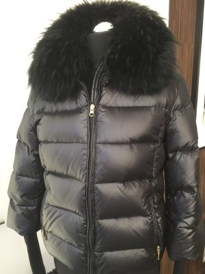 Wie neu : Wattierte Jacke Daunenjacke kurz abnehmbarer Fellkragen schwarz