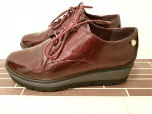 *wie NEU* Xti Halbschuhe Schnür Schuhe Lack Bordeaux Plateau Gr. 37
