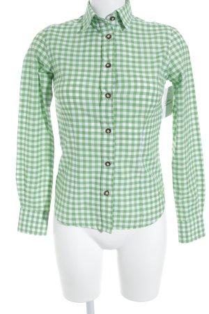 Wiesenkönig Karobluse weiß-hellgrün Karomuster Holzknöpfe