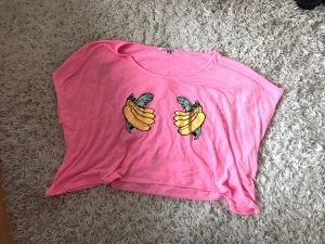 Wildfox Crop Top Banana Beach Cover Up Shirt Tosa Pink