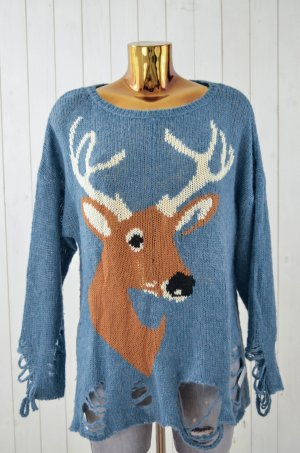WILDFOX Damen Pullover Strick Blau-Grau Braun Weiß Hirsch Vintage Style Gr.S