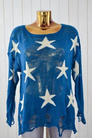 WILDFOX Damen Pullover Strick Blau Weiß Sterne Strick Vintage Style Oversized XS