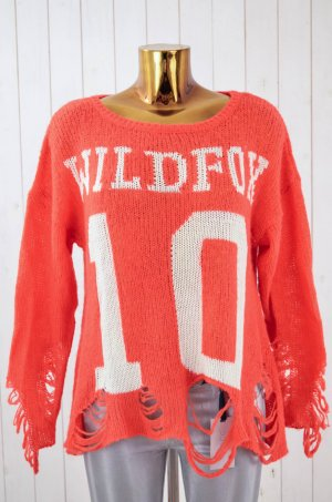 WILDFOX Damen Pullover Strick Oversized Orange-Rot Ecru Acryl Wolle Viskose XS